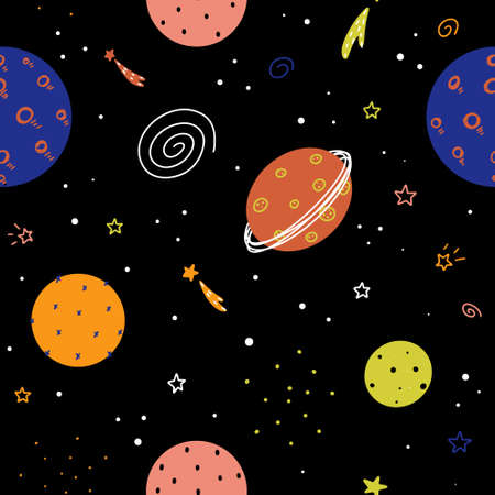 Cute nursery childish space seamless pattern with planets, stars, galaxies and abstract elements hand drawn in Scandinavian style vector illustration.
