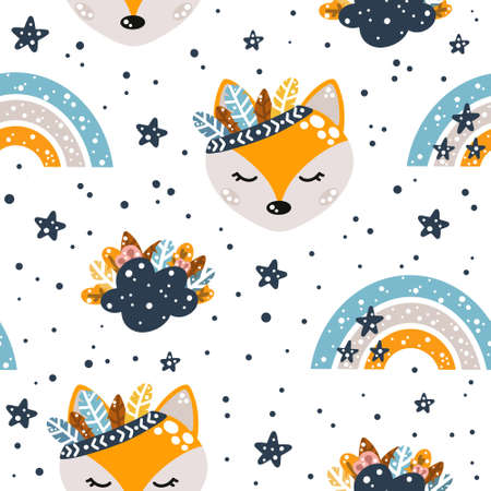 Cute nursery seamless pattern in boho style with fox, clouds, rainbows and feathers with floral elements isolated on white background Scandinavian style vector illustration.