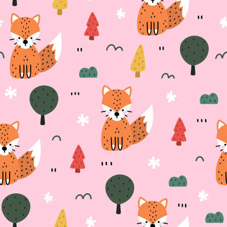Cute seamless pattern in Scandinavian style. Winter scene with fox, forest, snowflakes and Christmas tree. Hand drawn doodle style vector illustration. 向量圖像