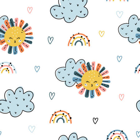 Cute colorful nursery seamless pattern with sun, clouds, rainbows and heart shaped elements isolated on white background. Hand drawn vector illustration in Scandinavian style. 向量圖像