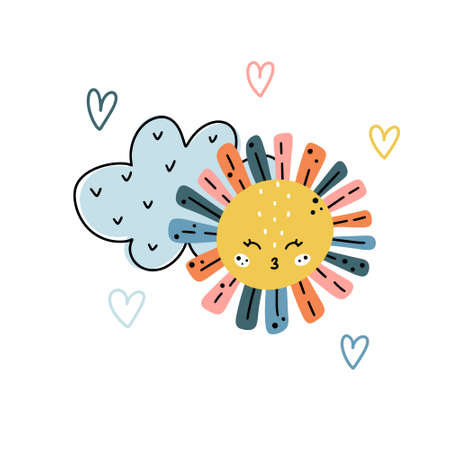 Cute nursery hand drawn illustration with cloud, sun and heart shaped elements around isolated on white background. Scandinavian style vector illustration.