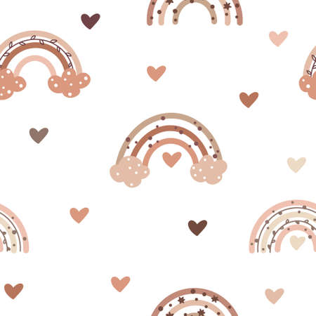 Cute seamless pattern in nordic colors with sweet rainbows and heart shaped elements isolated on white background. Hand drawn vector illustration in Scandinavian style.