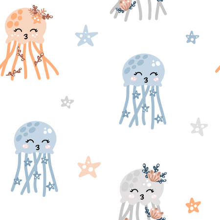 Cute nursery seamless pattern with colorful jellyfishes with stars and abstract dots around. Hand drawn Scandinavian style vector illustration.