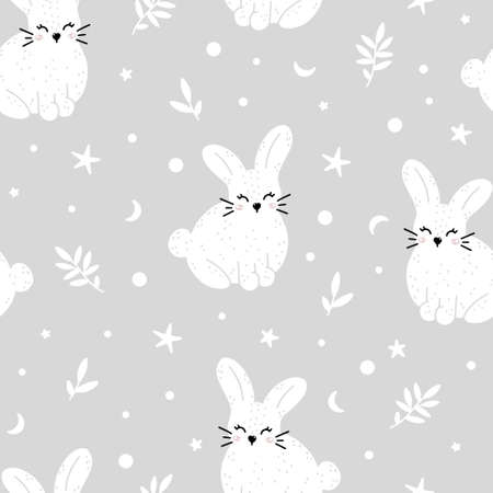 Cute rabbit nursery seamless pattern with abstract elements isolated on gray background. Monochrome hand drawn vector illustration in Scandinavian style.