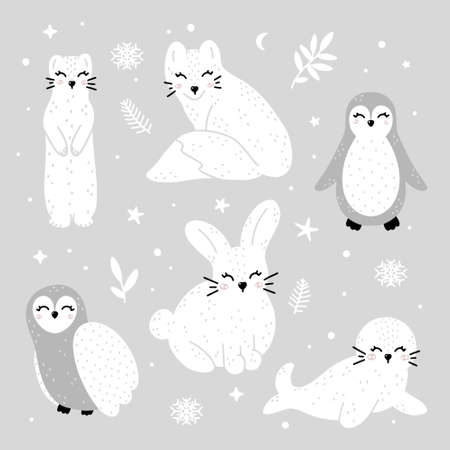 Cute collection of winter animals: ermine, fox, penguin, owl, rabbit and seal with abstract dots, stars and winter elements. Monochrome hand drawn Scandinavian style vector illustration.