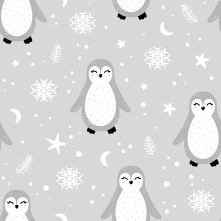 Cute penguin seamless pattern with abstract elements and dots around. Nursery hand drawn vector illustration in Scandinavian style.