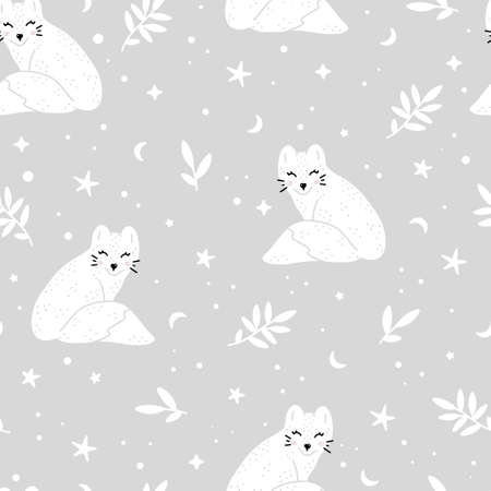 Cute nursery pattern with artic fox, moon, stars and snowflakes around. Winter hand drawn vector illustration in Scandinavian style.