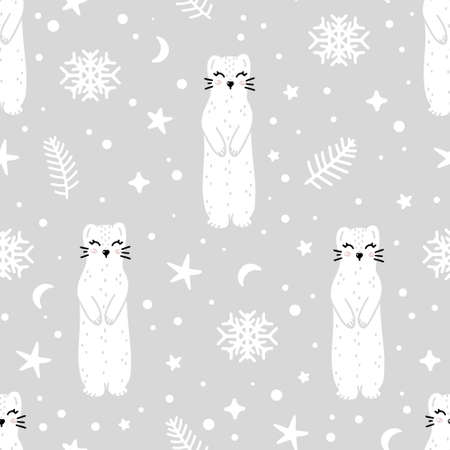 Cute ermine seamless pattern with Christmas tree elements, snowflakes and stars around. Nursery hand drawn vector illustration in Scandinavian style. 向量圖像