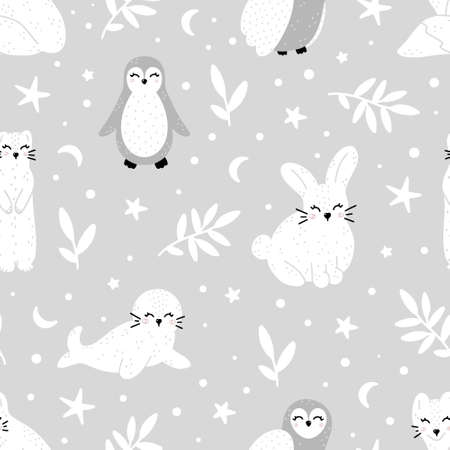 Cute wildlife winter animals: ermine, arctic fox, rabbit, seal, penguin and owl monochrome hand drawn seamless pattern in Scandinavian style vector illustration.