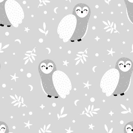 Cute winter owl seamless pattern with branches, moon, stars and abstract dots around. Hand drawn Scandinavian style vector illustration. 向量圖像