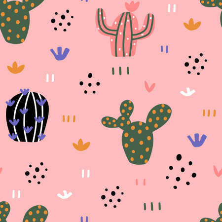 Cute cacti seamless pattern with hand drawn textures in Scandinavian style isolated on pink background vector illustration for design and print. 向量圖像