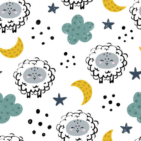 Cute sheep nursery seamless pattern with clouds, stars, moon and abstract dots isolated on white background. Scandinavian style vector illustration for print and design. 向量圖像