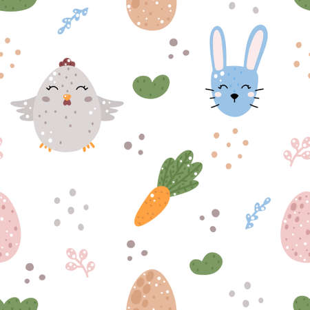 Cute nursery easter seamless pattern with rabbit, chicken, carrot, eggs and abstract elements isolated on white background. Hand drawn in Scandinavian style vector illustration.