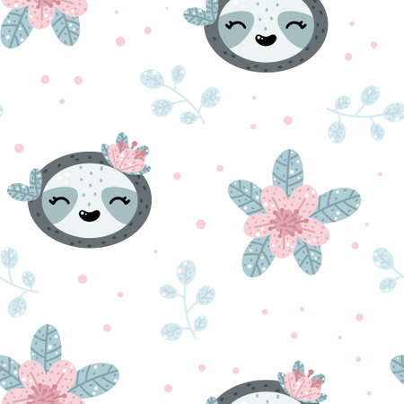 Cute sloth seamless pattern with floral elements and abstract dots around. Nursery hand drawn vector illustration in Scandinavian style.