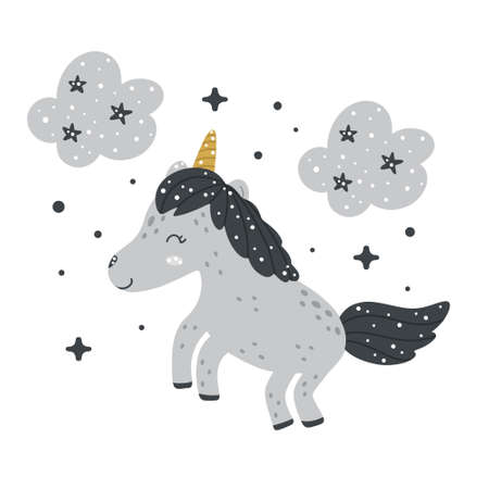 Cute nursery unicorn clipart with clouds and abstract dots around. Monochrome hand drawn Scandinavian style vector illustration. 向量圖像