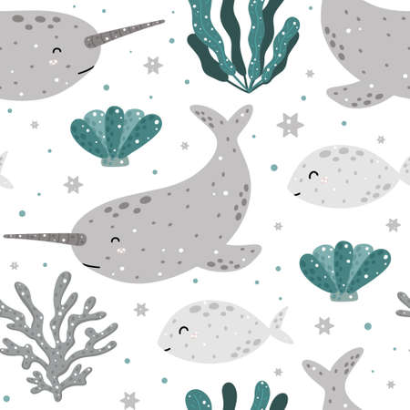 Cute marine seamless pattern with narwhal, fish, coral, shell and abstract elements. Hand drawn Scandinavian style vector illustration.