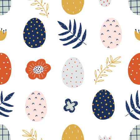 Easter hand drawn colorful seamless pattern with eggs and floral elements isolated on white background. Scandinavian style vector illustration.