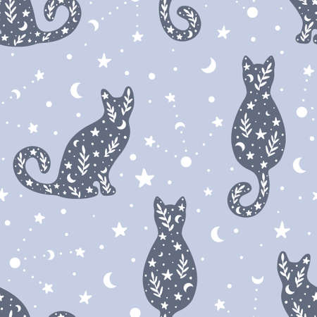 Cute hand drawn seamless pattern with cats and celestial elements in bohemian style. Hand drawn Scandinavian style vector illustration.