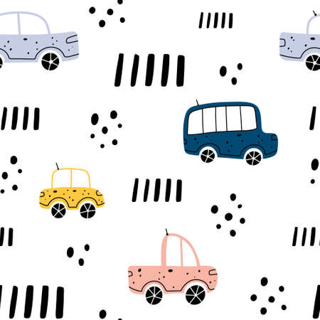 Cute childish seamless pattern with different colorful vehicles with abstract elements isolated on white background. Scandinavian style vector illustration.