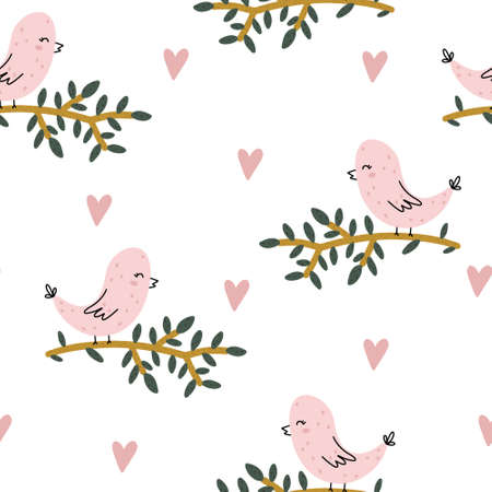 Seamless pattern with childish hand drawn bird and a branch in Scandinavian style with heart shapes around isolated on white background.