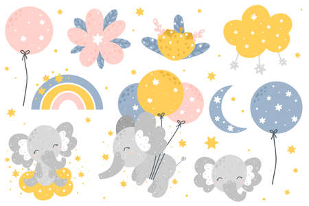Cute nursery collection with baby elephant, sky elements and flowers. Hand drawn Scandinavian style vector illustration. 向量圖像