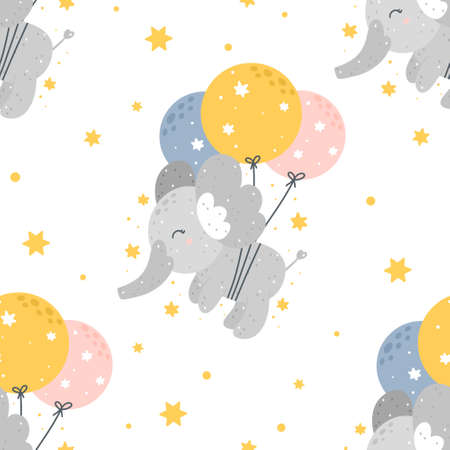 Cute childish seamless pattern with flying elephants with balloons, stars and abstract dots isolated on white background. Hand drawn Scandinavian style vector illustration.