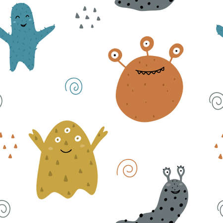 Cute childish seamless pattern with monsters isolated on white background with abstract elements. Hand drawn Scandinavian style vector illustration.