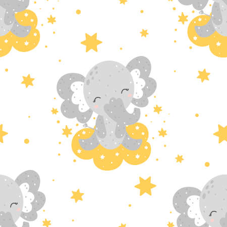 Cute childish seamless pattern with baby elephant sitting on a cloud with stars and abstract dots around. Hand drawn Scandinavian style vector illustration.