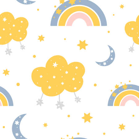 Cute childish seamless pattern with rainbows, clouds, stars, moon and abstract dots. Hand drawn Scandinavian style vector illustration.