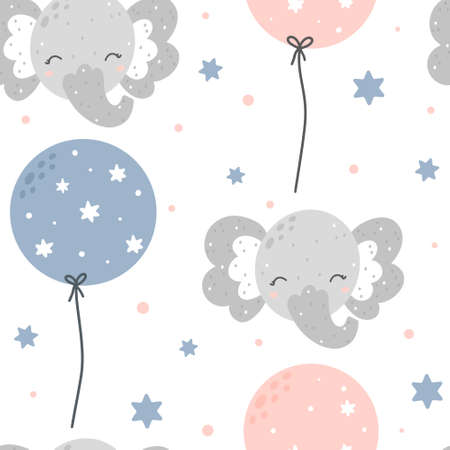 Cute childish elephant seamless pattern with balloons. Hand drawn Scandinavian style vector illustration.