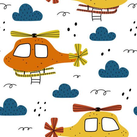Helicopter seamless pattern with clouds and abstract elements around. Childish hand drawn Scandinavian style vector illustration.