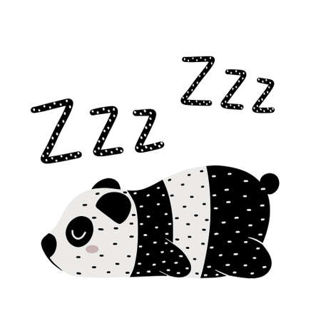 Sleeping panda bear with zzz textured lettering isolated on white background. Cute childish hand drawn vector illustration.