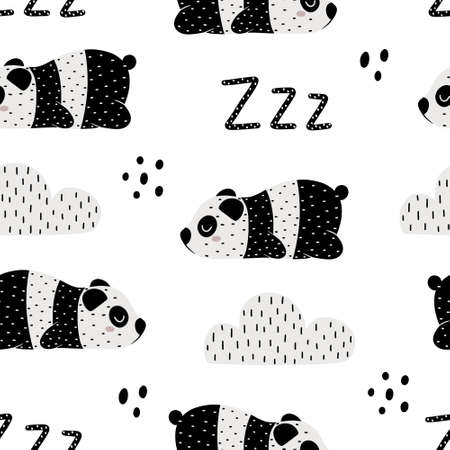 Cute childish seamless pattern with sleeping panda bear, clouds and zzz. Hand drawn Scandinavian style vector illustration. 向量圖像