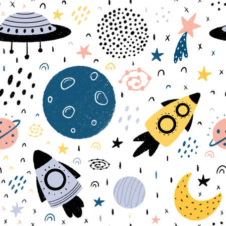 Space seamless pattern with spaceships, planets, moon, stars, stardust, galaxies and abstract elements. Hand drawn Scandinavian style vector illustration isolated on white background.