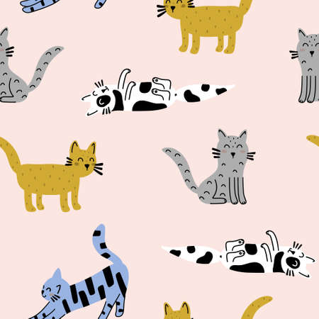 Cat funny seamless pattern isolated on pink background. Hand drawn Scandinavian style vector illustration.