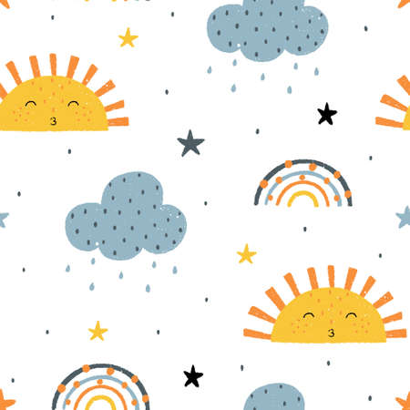 Cute childish seamless pattern with sun, clouds, rain, stars and rainbows. Hand drawn Scandinavian doodle style vector illustration.