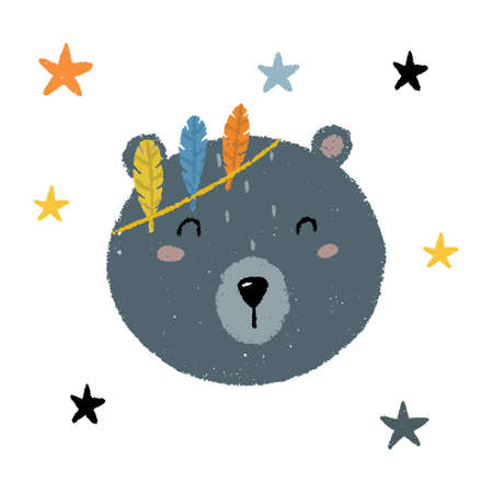 Cute childish bohemian style bear print with stars around. Hand drawn grungy texture Scandinavian style vector illustration.