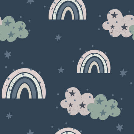 Cute nursery seamless pattern with pastel colored rainbows, clouds and stars isolated on dark background. Hand drawn Scandinavian style vector illustration. 向量圖像