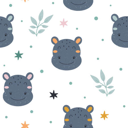 Cute childish seamless pattern with adorable hippo character with abstract elements around. Hand drawn Scandinavian style vector illustration.