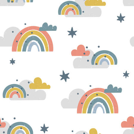 Cute childish seamless pattern with clouds, rainbows and stars isolated on white background. Hand drawn Scandinavian style vector illustration with texture brush.