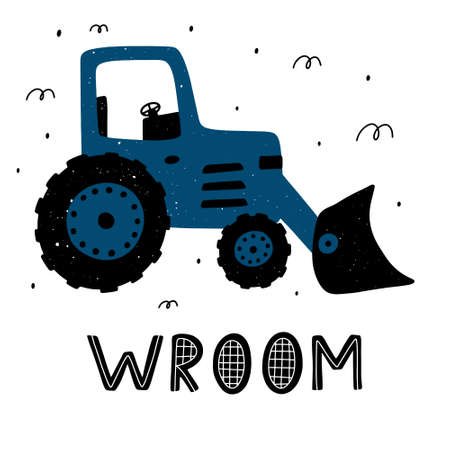 Cute childish tractor with lettering and abstract elements around. Scandinavian style vector illustration.