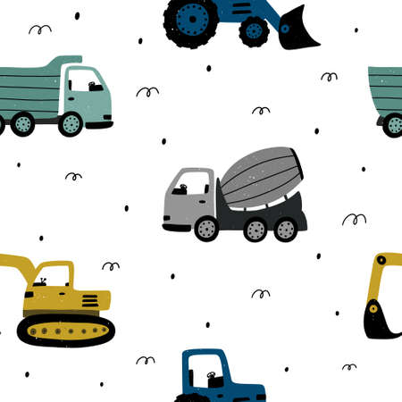 Cute childish seamless pattern with construction machines and abstract elements around. Hand drawn Scandinavian pattern vector illustration with texture. 向量圖像