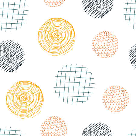 Abstract seamless pattern with circular elements. Hand drawn Scandinavian style vector illustration perfect for textiles, fabrics, paper, wallpaper.
