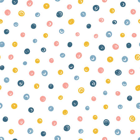 Abstract seamless pattern with hand drawn small dots. Hand drawn Scandinavian style vector illustration perfect for fabric, textile, apparel. 向量圖像
