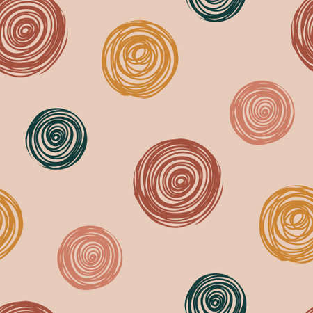 Seamless pattern with hand drawn abstract circles. Hand drawn Scandinavian style vector illustration perfect for fabric, textile, apparel. 向量圖像