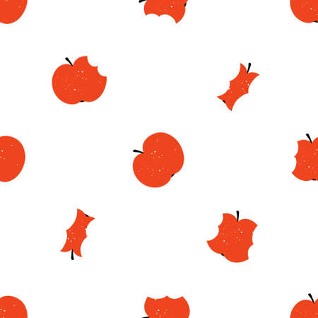 Cute bitten apples seamless pattern with texture isolated on white background. Doodle hand drawn Scandinavian style vector illustration for textile or paper print.