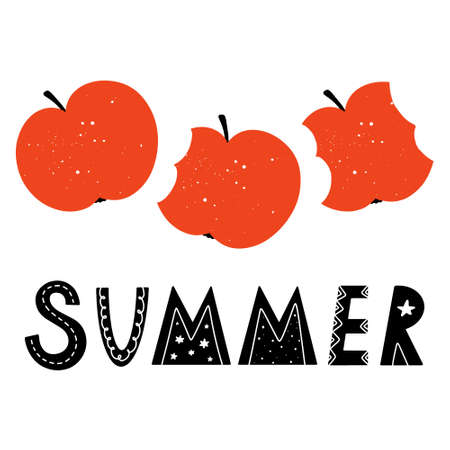 Cute summer word hand drawn lettering in Scandinavian style with bitten apples with texture isolated on white background. Doodle style childish vector illustration.