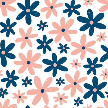 Cute floral pattern with blue and pink hand drawn flowers isolated on white background. Scandinavian style vector illustration. 向量圖像