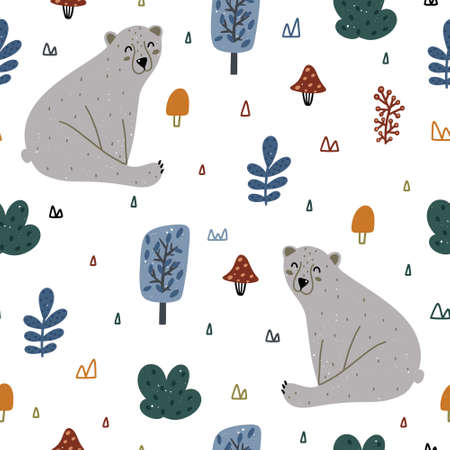 Forest elements seamless pattern with florals, bear, mushrooms and abstract elements isolated on white background. Hand drawn Scandinavian style vector illustration. 向量圖像