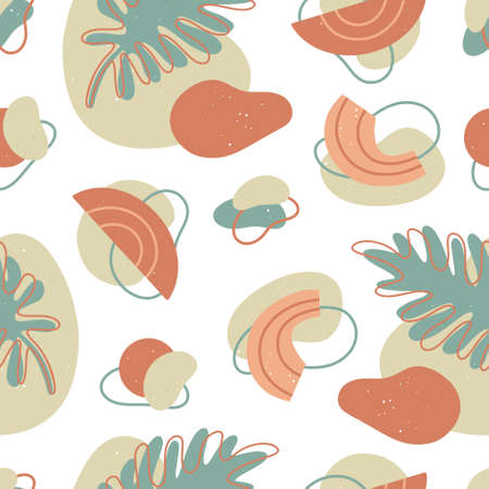 Abstract shapes seamless pattern with geometric forms, line art and botanical elements. Minimal art and natural vector illustration.